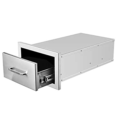 Outdoor Kitchen Drawer, 304 Stainless Steel Single Layers Access Door BBQ Drawer for BBQ Island, Patio Grill Station, Kitchen Cabinet Barbecue Storage Drawers