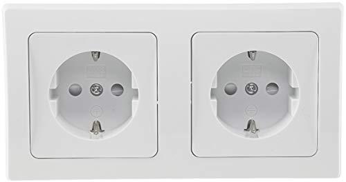 Delphi Doppel-Steckdose Weiß 2 Schutzkontaktsteckdosen mit erhöhtem Berührungsschutz 2-Fach Steckdose Kabel Klemm Anschluss