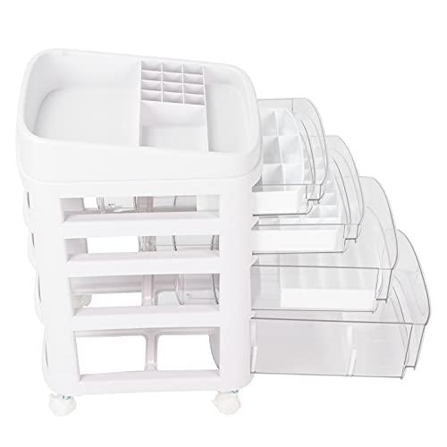 Caja de almacenamiento de maquillaje multifunción, caja de almacenamiento de cosméticos multicapa con polea, 4 cajones
