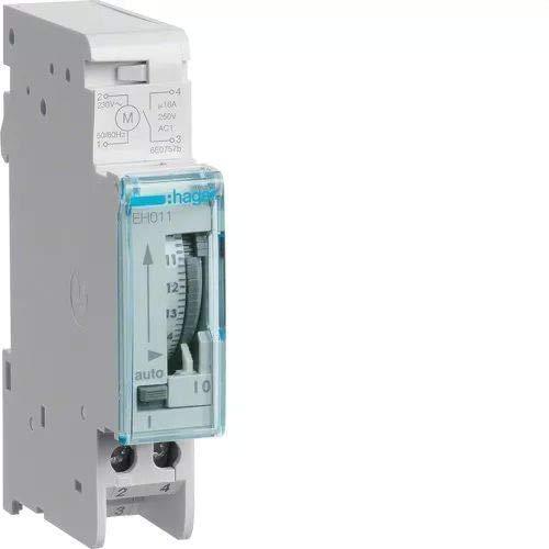 Hager EH011 - Interruptor horario esfera diaria, 16A, 1 contacto NA, con reserva 200 h