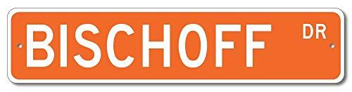 Monsety Bischoff Drive Custom Straßenschild Bischoff Familie Nachname orange Neuheit Türschild Metall Blech Home Street Deko Schild
