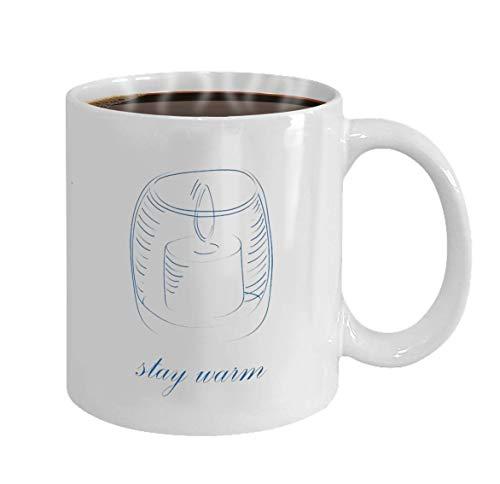 Tazas de te Manténgase caliente concepto dibujo ilustración vectorial de vela aislado sobre fondo blanco. Taza para oficina y hogar