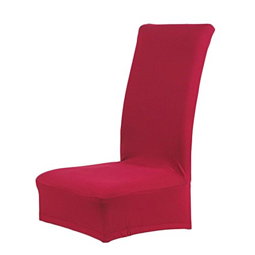 Gesh Funda para silla de comedor, color sólido, hoja de spandex (vino tinto)