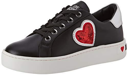 Love Moschino Scarpad.cassetta35 VIT+Nappa Lamin, Chaussures de Gymnastique, Multicolore (Black Silver 00b), 35 EU