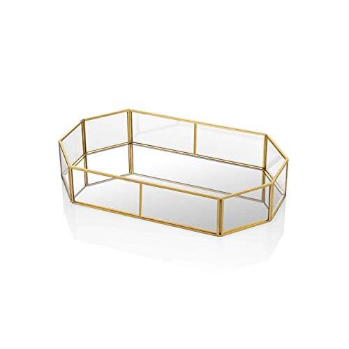 HARLIANGXY - Spiegeltablett Gold - Vintage Spiegel Tablett - Metall Tablett - Dekotablett als Schminktisch Aufbewahrung - Schmuck/Make up Organizer - 26 x 18 x 5 cm