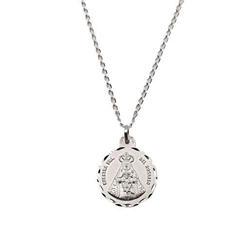 Medalla Religiosa - Virgen del Rosario 21 mm con Cadena Bilbao 40 cm. Plata de Ley 925 milésimas