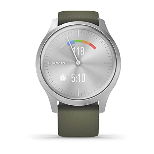 Garmin vivomove Style, Hybrid Smartwatch with Real Watch Hands and Hidden Color Touchscreen Displays, Silver with Moss Silicone Band