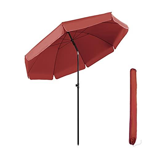 Sekey® Parasol Ø 217 cm inclinable pour Patio Jardin Balcon Piscine Plage Rouge Rond Sunscreen UV25+