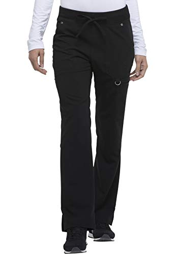 Dickies Women's Mid Rise Rib Knit Waistband Pant, Black, Large