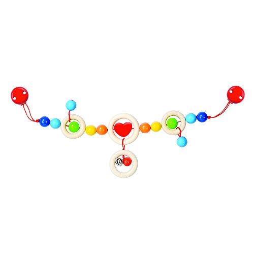 Goki Pram chain heart with clips juguete colgantes para bebé - Juguetes colgantes para bebé (Multicolor, Metal, Madera, Cochecito/carrito de bebé, Niño/niña, 40 cm, 180 g) , color/modelo surtido