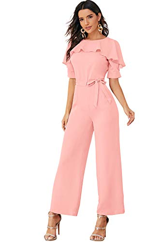 ILLI LONDON Women's Maxi Jumpsuits (Large, Pink)