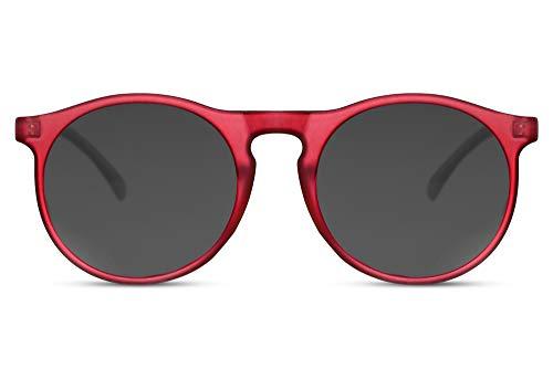 Cheapass Gafas de Sol Unisex Redondas Inspiración Diseñador Mate RojasTransparente Montura con Lentes Oscuras UV400 protegidas Hombres Mujeres