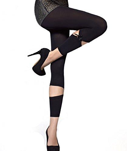 Gatta Bibi Fantasia 02 – Trendy blickdichte Leggings mit modischen Stulpen - Größe M - Nero - schwarz