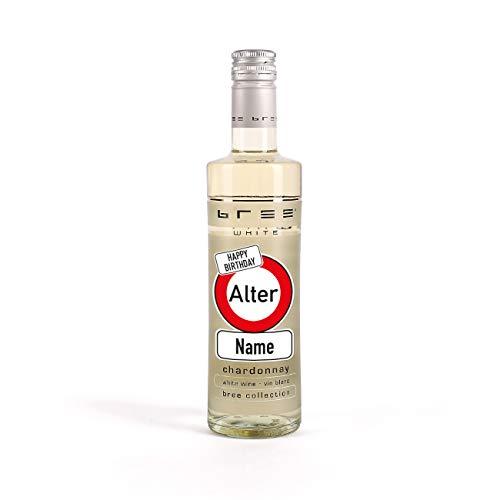 Herz & Heim® Kleines Weingeschenk zum Geburtstag mit persönlichem Aufdruck im Verkehrszeichen Etikett - kleiner Bree Wein (1 x 0.25 l) Weiß