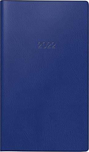 BRUNNEN 1075328302 Taschenkalender/Monats-Sichtkalender Modell 753, 2 Seiten = 1 Monat, 8,7 x 15,3 cm, Kunststoff-Einband dunkelblau, Kalendarium 2022