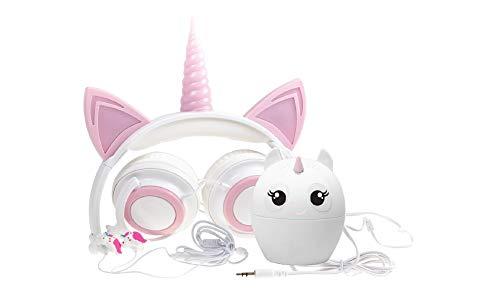 Gabba Goods Juego de 3 piezas de regalo premium con luz LED en la oscuridad, unicornio sobre la oreja, auriculares cómodos, auriculares estéreo acolchados, cable AUX | auriculares y altavoz estéreo Bluetooth