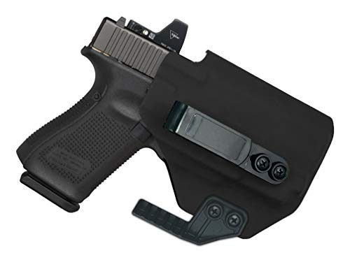 MIE Productions: IWB Light Bearing Holster with Concealment Claw - Supports Optic/RDS - fits Springfield Hellcat w/PL-Mini 2 (Black - Right Hand)