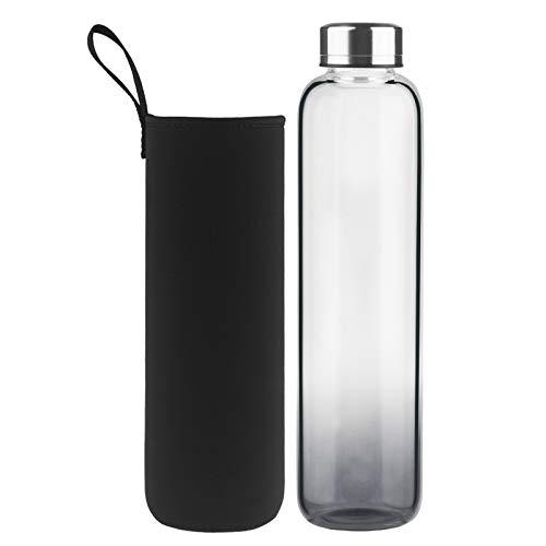 DEARRAY Botella de Agua de Cristal de Borosilicato Deportivo 1000ml / 1 Litro, Botella de Agua de Vidrio con Funda de Neopreno y Elegante Tapa de Acero Inoxidable