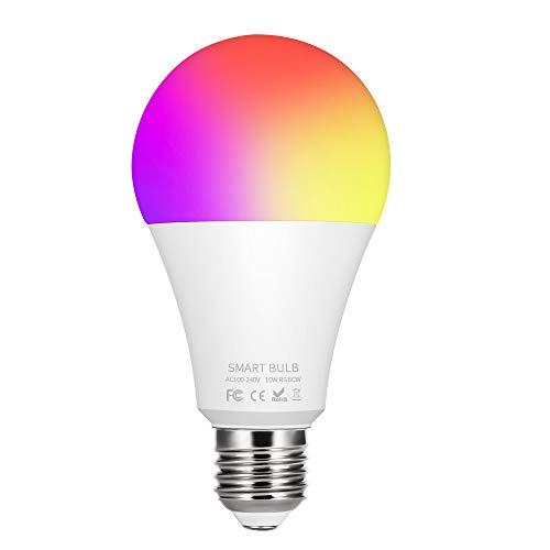 Konesky E27 RGBW Bombilla WiFi 10W Lámpara LED inteligente Control de aplicación Compatible con Alexa Google Assistant Bombilla blanca cálida y fría para el hogar, el dormitorio