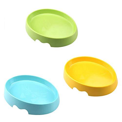 Huisdier Kat Kat Voeding Lade Kat Rubber Antislip Base Voedsel Bowl Huisdier Spiegel Gepolijst Kat Gezicht Design Bowl, Een Set van 3 Bowls (Groen, Blauw, Geel)