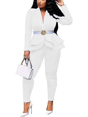 Pant Suits for Women Elegant Two Piece Outfits Long Sleeve Blazer + Skinny Pants Sets White XX-Large