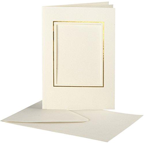 Passepartoutkarte, Kartengröße 10,5x15 cm, off-white, rechteckiger Ausschnitt mit Goldkante, 10 Set