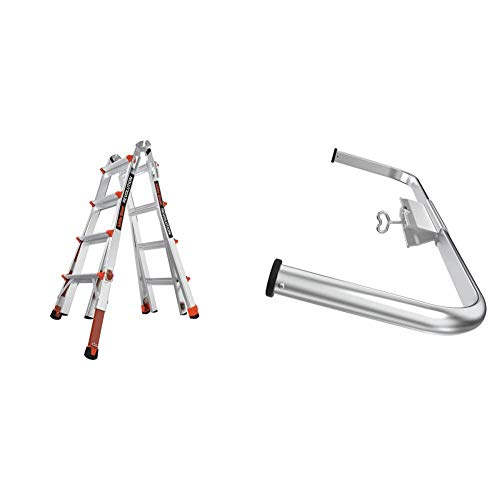 Little Giant Ladders, Revolution with Ratchet Levelers, M17, 17 ft, Multi-Position Ladder,Ratchet Leg levelers, Aluminum + 10111 Wing Span/Wall Standoff