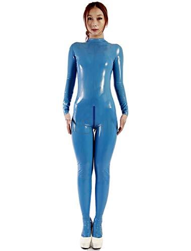 Fontoys-pants Leggings Shaping Sexy Blue Damen Latex Catsuits Mit Schritt Zipper-Blue_L