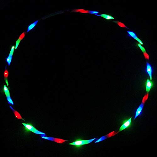 AGENI LED Fitness Hoop Light Up LED Dancing Hoops Collapsable 7 Color Strobing Changing Hula Hoop Fitness Circle for Kids Adults for Weight Loss Exercise