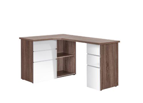 MAJA-Möbel 9543 8056 Schreib- und Computertisch, Eiche Trüffel sägerau Nachbildung - weiß Hochglanz, Abmessungen BxHxT: 145 x 76,6 x 101,5 cm