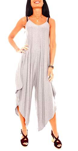 Easy Young Fashion Damen Jumpsuit Spaghettiträger Hosenkleid Asymetrisch Sommer Harems Overall Strampler One Size Hellgrau Meliert