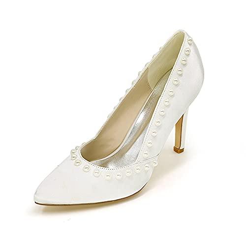 Zapatos De Dama De Honor Nupcial con Punta Puntiaguda Tacones Altos De...