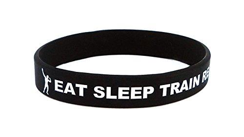 Fitness y Culturismo Pulsera Eat Sleep Train Repeat Negro Entreno Deporte Fitness Gimnasio Estilo de Vida CrossFit Accesorios Silicona Goma Cinta Elástica Unisexo Nuevo .
