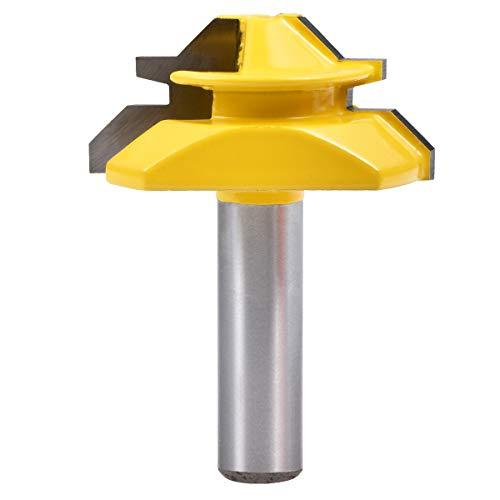 KATUR 45-Grad-Schloss Gehrungsfräser, Schaftverbindungsfräser mit 8-mm-Schaft für dickes Holzfräserwerkzeug und Fensterfräser (8-mm-Schaft, 1-3/8
