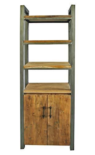 OPIUM OUTLET Standregal, Bücherregale, 4 Ebenen Regal, Raumteiler, Teak Massivholz, Stabiler Metallrahmen, komplett montiert, für Wohnzimmer, Esszimmer, Schlafzimmer, Flur, Vintage, Shabby-Stil