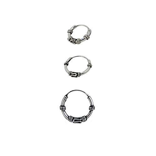3 pendientes aros diseño bali plata de ley individuales 1 aro 10mm diámetro exterior, 1 aro 12mm diámetro exterior y 1 aro 14mm diámetro exterior