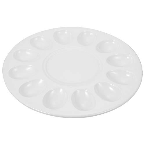 Hemoton Plato de Huevos Bandeja para Servir Huevos Endiablados Bandeja de Huevos Plato de Huevo Plato de Melamina Vajilla para Pasta de Camarón Albóndigas (Blanco)