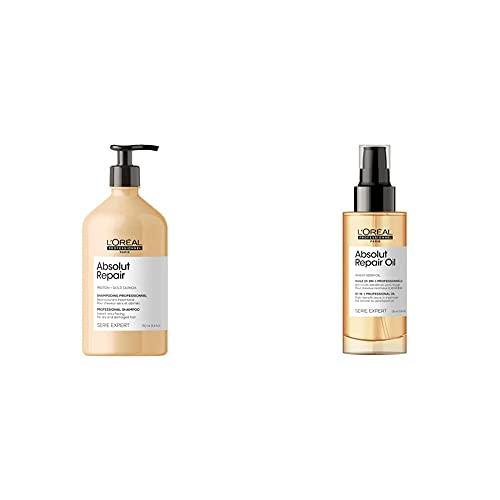 L'Oréal Professionnel | Champú Reparador y fortalecedor para cabellos secos y dañados, Absolut Repair, 750mL + Aceite 10-IN-1 Oil para cabellos secos y dañados, Absolut Repair, SERIE EXPERT, 90ml