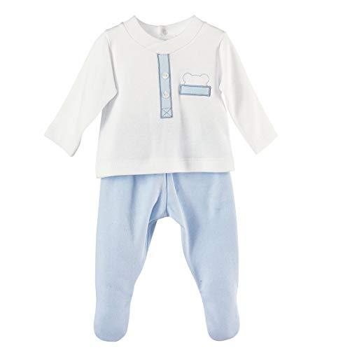 CALAMARO 6961-17428-CELESTE-3M - Conjunto JUBON Polaina bebé-niños Color: Celeste Talla: 3 Months