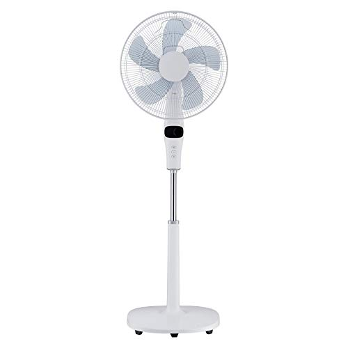 Jack Stonehouse Electric 16-inch Oscillating Pedestal Fan 12 Speed with Remote and Timer, White