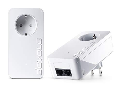Devolo dLAN 1000Duo + Starter Kit–Starterkit für Powerline Kommunikation PLC-Adapter (bis 1000MBit/s Powerlan durch die integrierte Steckdose, 2LAN Ports, 2), weiß