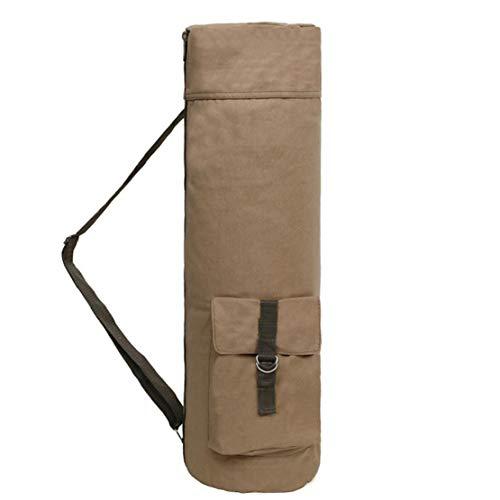 NaiCasy Yoga Mat Bolsa Portador de aparatos de Yoga Hombro Bolsa de Almacenamiento de contenedores con Cierre de Cremallera Bolsillos Correa Ajustable Caqui