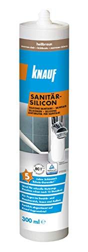 Knauf Sanitär-Silicon für den Einsatz in Sanitär-Bereichen, Bad, Dusche – dauerelastischer Silikon-Dichtstoff, schnell vernetzende Anti-Schimmel Fugen-Masse, wasserfest, 300-ml, Hellbraun