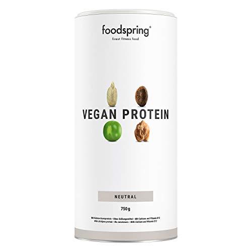 foodspring Vegan Protein Pulver, Neutral, 750g, Veganes Protein aus Erbsen, Kichererbsen, Hanf & Sonnenblumen, Pflanzenkraft zum Muskelaufbau