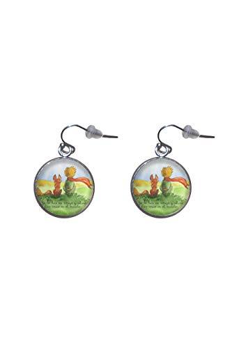 Edelstahl hängende Ohrringe, Durchmesser 20mm, handgemacht, Illustration der kleine Prinz 2