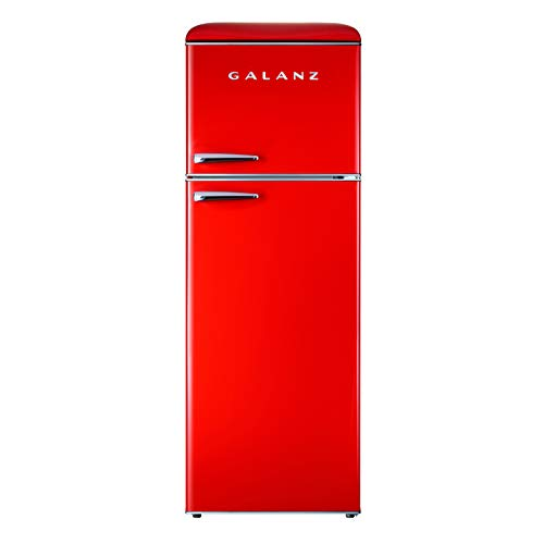 Galanz GLR12TRDEFR Refrigerator, Dual Door Fridge, Adjustable Electrical Thermostat Control with Top Mount Freezer Compartment, Retro Red, 12.0 Cu Ft