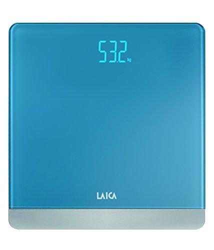 Báscula de baño digital LAICA PS1057 color azul claro, diseño elegante, en vidrio y metal, peso máximo 180 Kg.