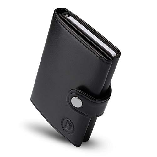 Destination® Slim Wallet mit RFID Schutz - Leder Geldbörse ohne Münzfach für Herren & Damen - Mini Portemonnaie - dünner Geldbeutel für Karten & Scheine Vegan Leder - Kreditkartenetui klein (schwarz)