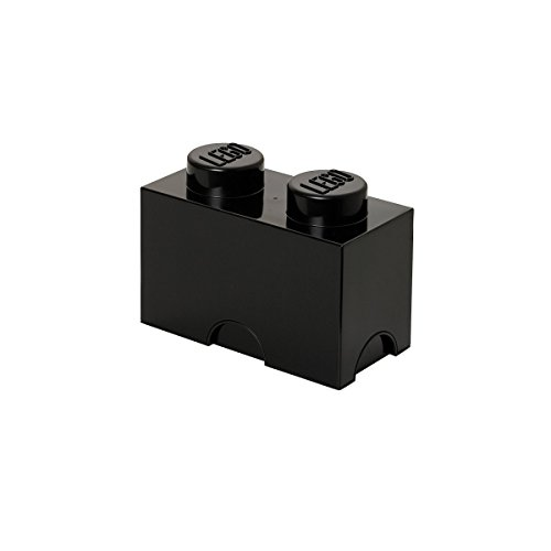 Lego Storage Brick with 2 Knobs, in Black
