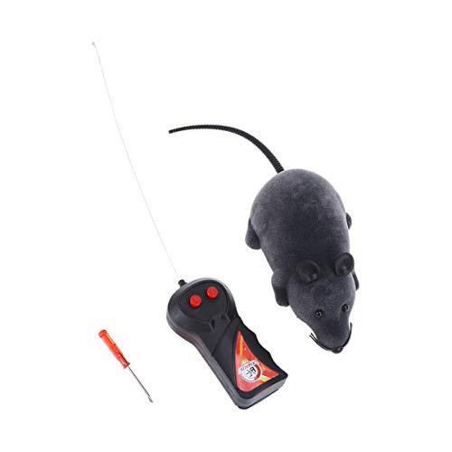 Rosenice - Topolino giocattolo con telecomando, ideale per far divertire i gatti simulando un vero roditore, in peluche e schiuma, gioco da inseguire, di colore grigio